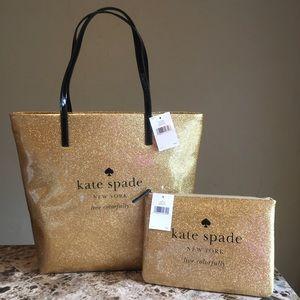 New Kate Spade Glitter Gold Sparkle Gia Tote Bag.